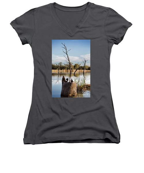 Women's V-Neck T-Shirt (Junior Cut) featuring the photograph Tree Image by Douglas Barnard