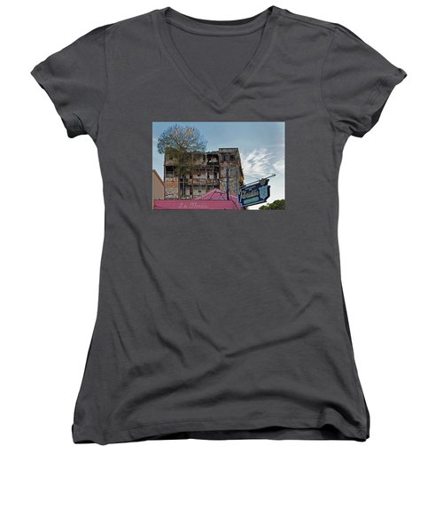 Women's V-Neck T-Shirt (Junior Cut) featuring the photograph Tree In Building Over La Floridita Havana Cuba by Charles Harden