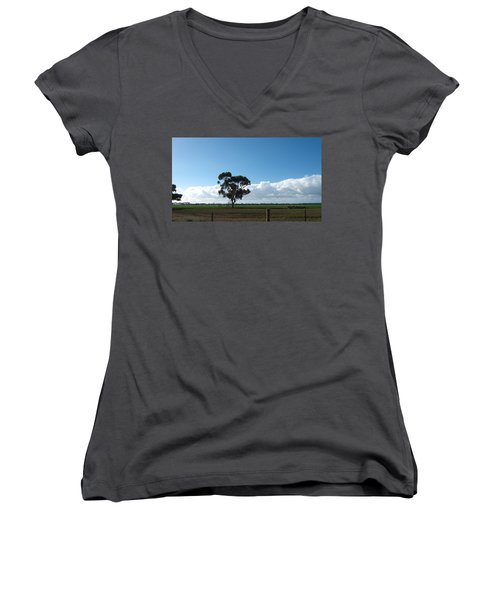 Tree In Field Women's V-Neck