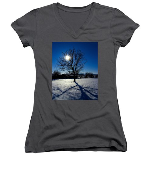 Tree Into Sun On A Winter Snowy Afternoon Women's V-Neck