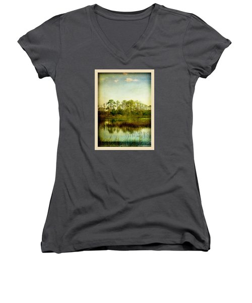 Women's V-Neck T-Shirt (Junior Cut) featuring the photograph Tree Laces by Linda Olsen