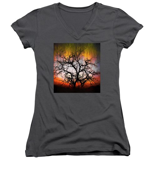 Tree Of Fire Women's V-Neck T-Shirt (Junior Cut)