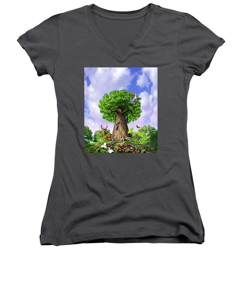 Tree Of Life Women's V-Neck T-Shirt (Junior Cut) by Jerry LoFaro