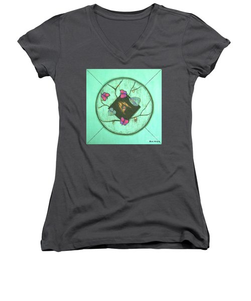 Women's V-Neck T-Shirt (Junior Cut) featuring the painting Tree Of Life by Mini Arora