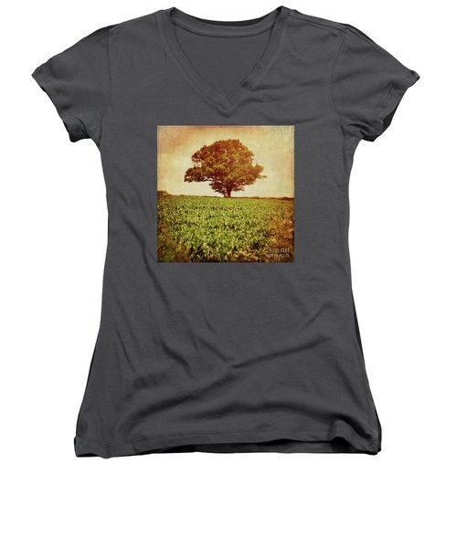 Women's V-Neck T-Shirt (Junior Cut) featuring the photograph Tree On Edge Of Field by Lyn Randle