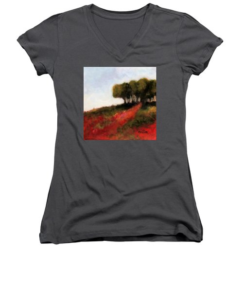 Trees On The Hill Women's V-Neck T-Shirt (Junior Cut) by Marti Green