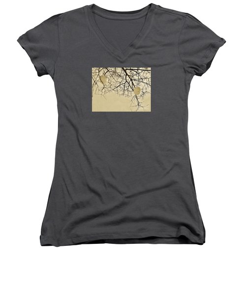 Tree Orbs Women's V-Neck T-Shirt (Junior Cut) by Reb Frost