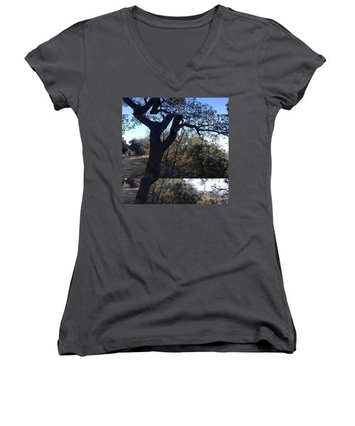 Women's V-Neck T-Shirt (Junior Cut) featuring the photograph Tree Silhouette Collage by Nora Boghossian