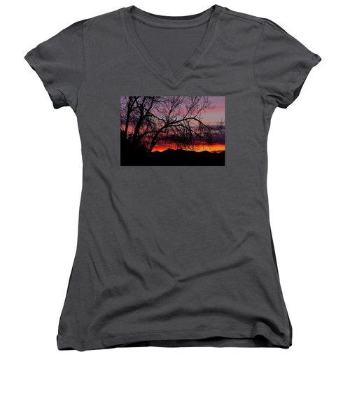 Tree Silhouette Women's V-Neck T-Shirt (Junior Cut) by Paul Marto