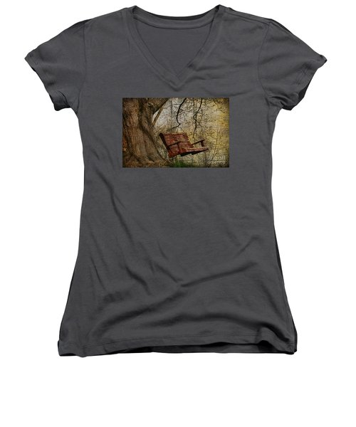 Tree Swing By The Lake Women's V-Neck T-Shirt