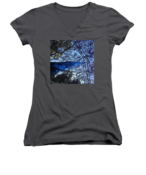Women's V-Neck T-Shirt (Junior Cut) featuring the photograph Tree Symphony by Nora Boghossian