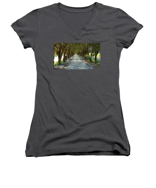 Women's V-Neck T-Shirt (Junior Cut) featuring the photograph Tree Tunnel by Valentino Visentini
