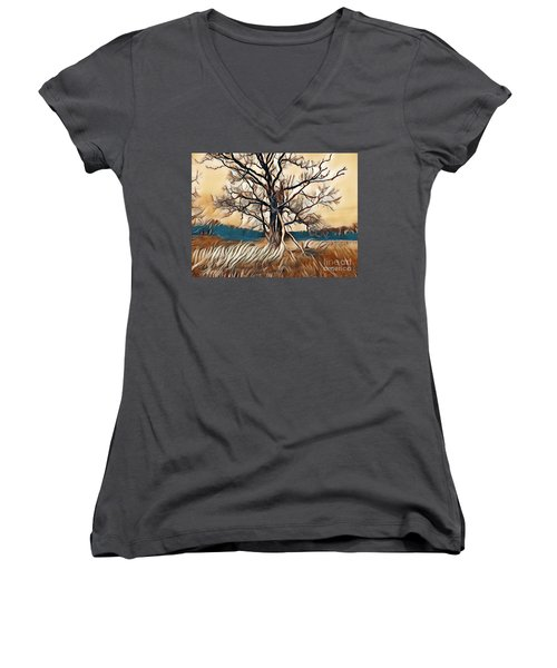 Tree1 Women's V-Neck (Athletic Fit)