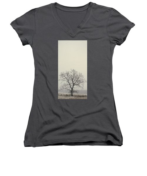 Women's V-Neck T-Shirt (Junior Cut) featuring the photograph Tree#1 by Susan Crossman Buscho
