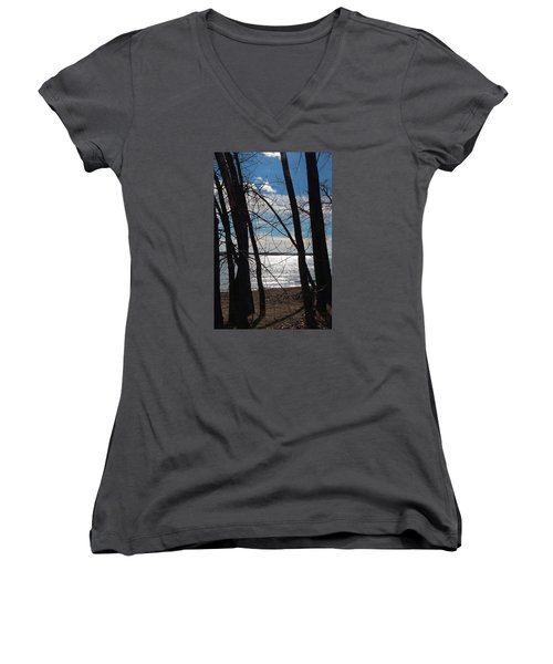 Women's V-Neck T-Shirt (Junior Cut) featuring the photograph Trees And Lake Reflections by Valentino Visentini