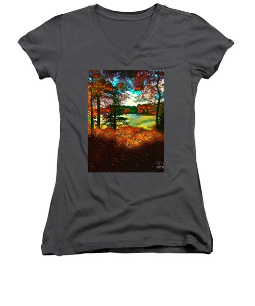 Trees And Shadows In New England Women's V-Neck T-Shirt (Junior Cut) by Saundra Myles