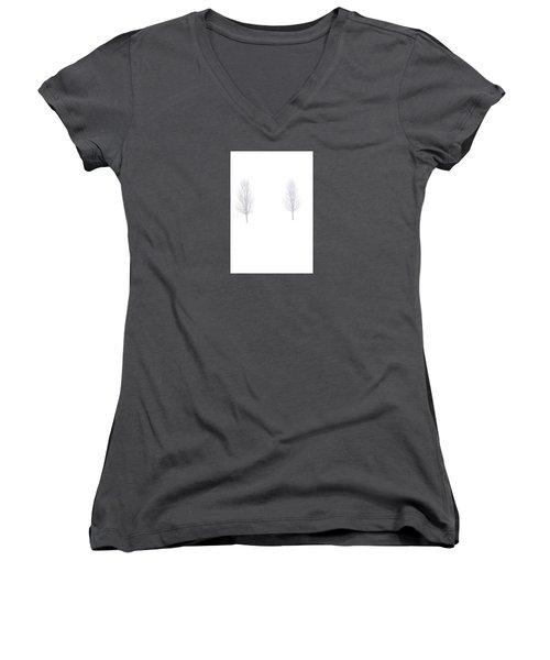 Trees And Snow Women's V-Neck T-Shirt (Junior Cut) by Daniel Thompson