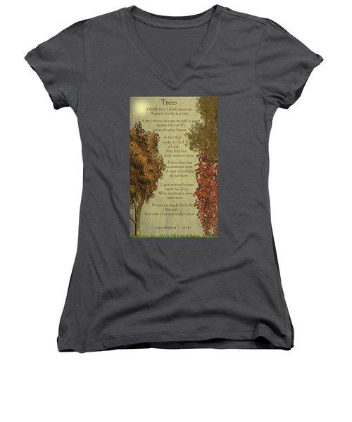 Trees Women's V-Neck T-Shirt (Junior Cut)