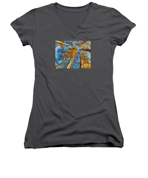 Trees Grow To The Sky Paint Women's V-Neck T-Shirt (Junior Cut) by Odon Czintos