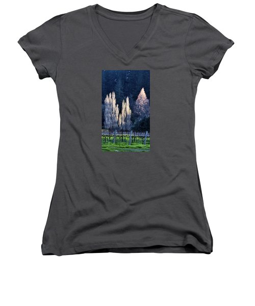 Trees In Fall Napa Valley Women's V-Neck T-Shirt (Junior Cut) by Josephine Buschman