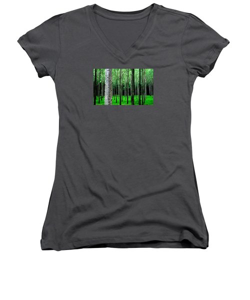 Trees In Rows Women's V-Neck (Athletic Fit)