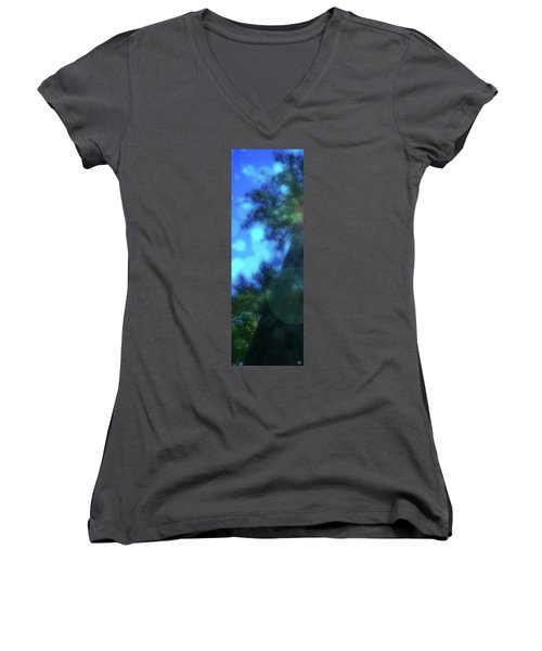 Trees Left Women's V-Neck T-Shirt (Junior Cut) by Kenneth Armand Johnson