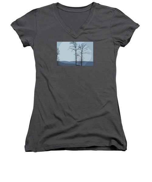 Trees On Blue Women's V-Neck T-Shirt (Junior Cut) by Donna G Smith