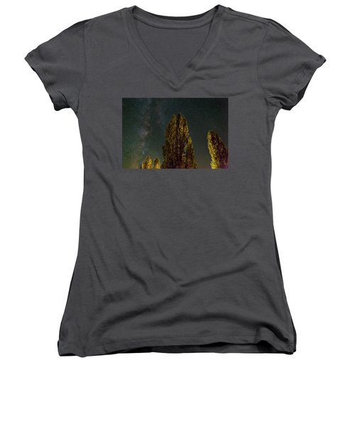 Trees Under The Milky Way On A Starry Night Women's V-Neck T-Shirt