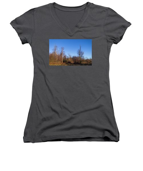Trees With The Moon Women's V-Neck (Athletic Fit)