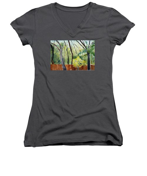 Trees1 Women's V-Neck (Athletic Fit)