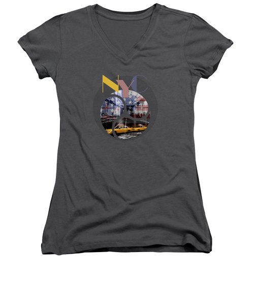 Trendy Design New York City Geometric Mix No 2 Women's V-Neck (Athletic Fit)