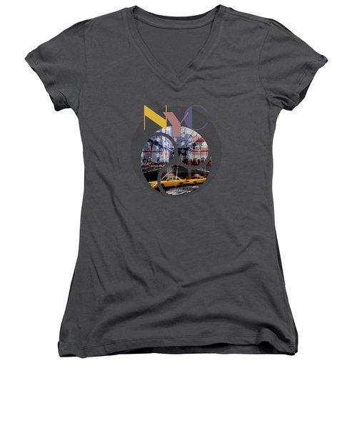 Trendy Design New York City Geometric Mix No 2 Women's V-Neck T-Shirt (Junior Cut)