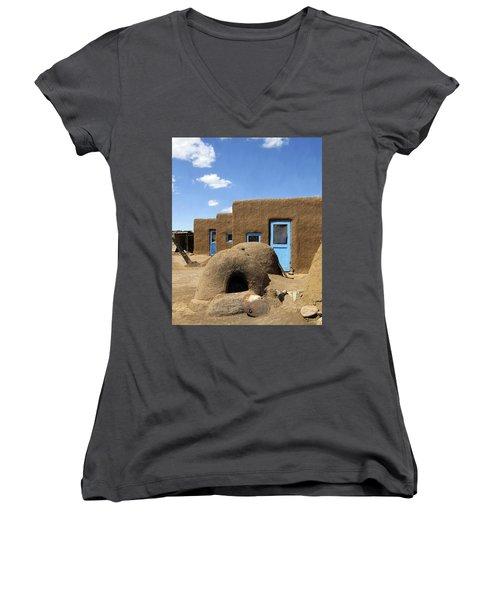 Tres Casitas Taos Pueblo Women's V-Neck