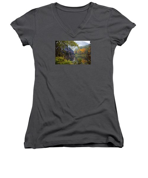 Trestle In Autumn Women's V-Neck T-Shirt (Junior Cut) by Hugh Smith