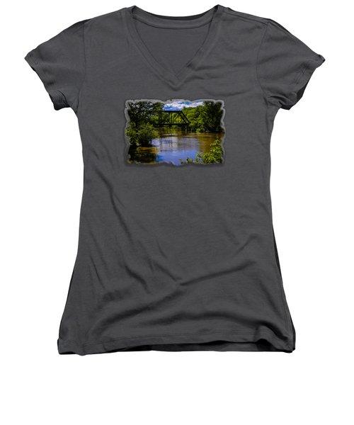 Trestle Over River Women's V-Neck T-Shirt