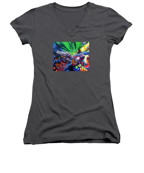 Trey Anastasio 4 Women's V-Neck T-Shirt (Junior Cut) by Kevin J Cooper Artwork