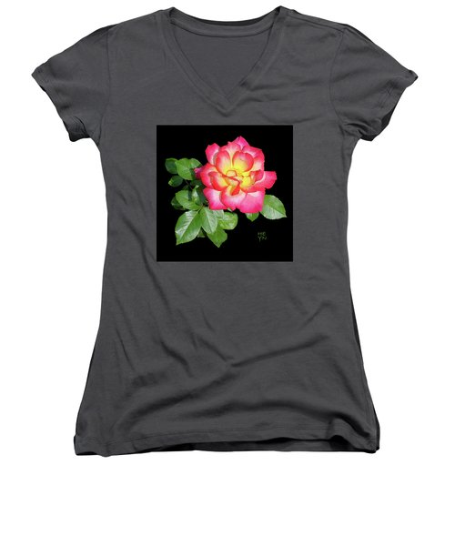 Tri-color Pink Rose2 Cutout Women's V-Neck T-Shirt (Junior Cut) by Shirley Heyn