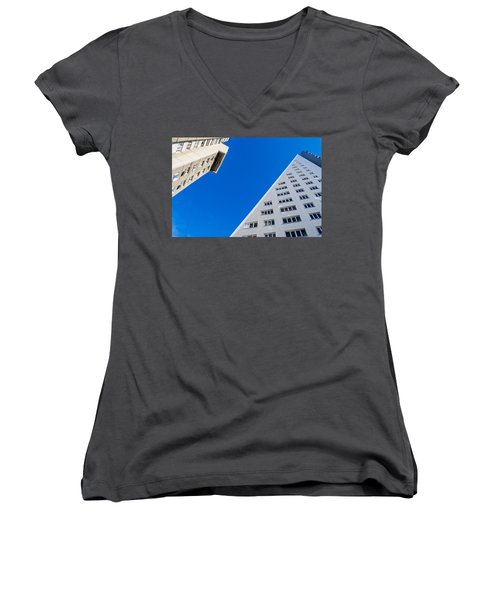 Women's V-Neck T-Shirt (Junior Cut) featuring the photograph Triangle Modern Building by John Williams