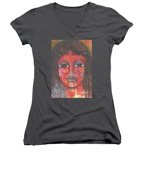 Tribal Woman Women's V-Neck (Athletic Fit)