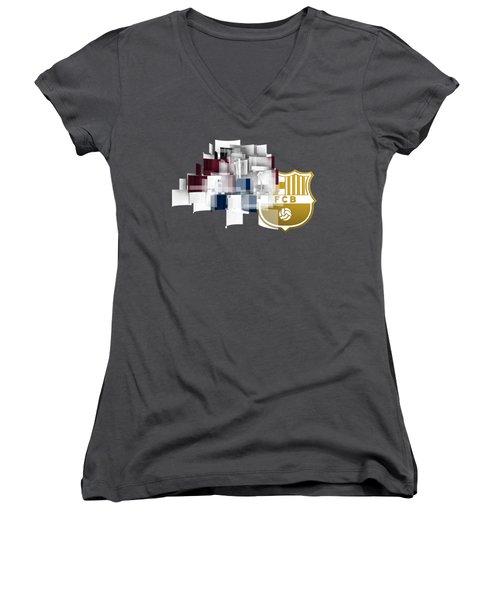 Tribute To Fc Barcelona 6 Women's V-Neck T-Shirt (Junior Cut) by Alberto RuiZ