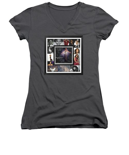 Tribute Whitney Houston One Moment In Time Women's V-Neck (Athletic Fit)