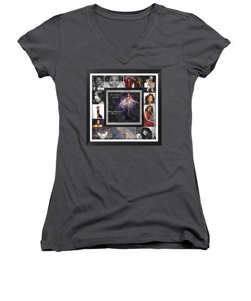 Tribute Whitney Houston One Moment In Time Women's V-Neck T-Shirt
