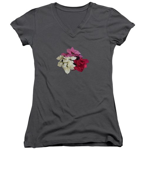 Tricolor Poinsettias Transparent Background   Women's V-Neck T-Shirt (Junior Cut) by R  Allen Swezey