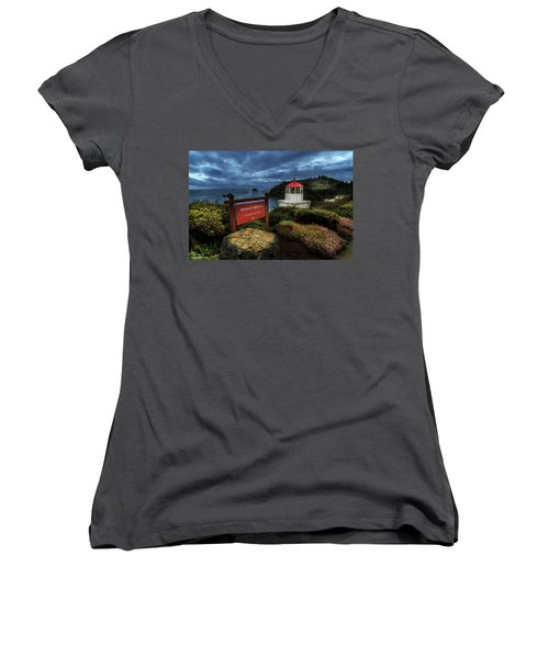 Trinidad Memorial Lighthouse Women's V-Neck T-Shirt (Junior Cut) by James Eddy