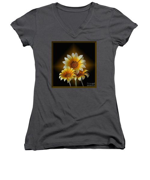 Women's V-Neck T-Shirt (Junior Cut) featuring the photograph Triple Sunshine Black And Gold by Shirley Mangini
