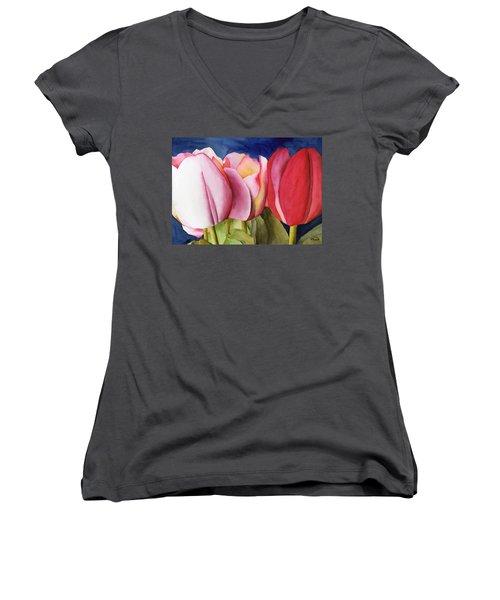 Triple Tulips Women's V-Neck T-Shirt