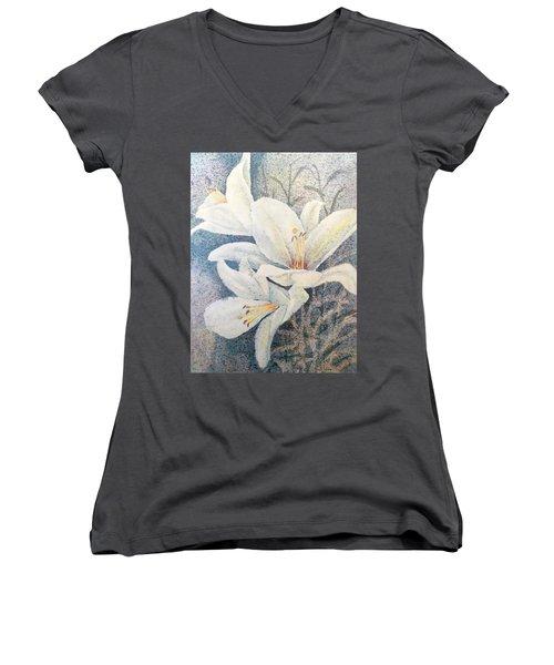 Triplefold White Women's V-Neck T-Shirt (Junior Cut) by Carolyn Rosenberger
