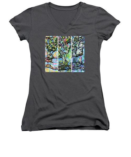 Women's V-Neck T-Shirt (Junior Cut) featuring the painting Triptych Of Three Trees By A Brook by Genevieve Esson