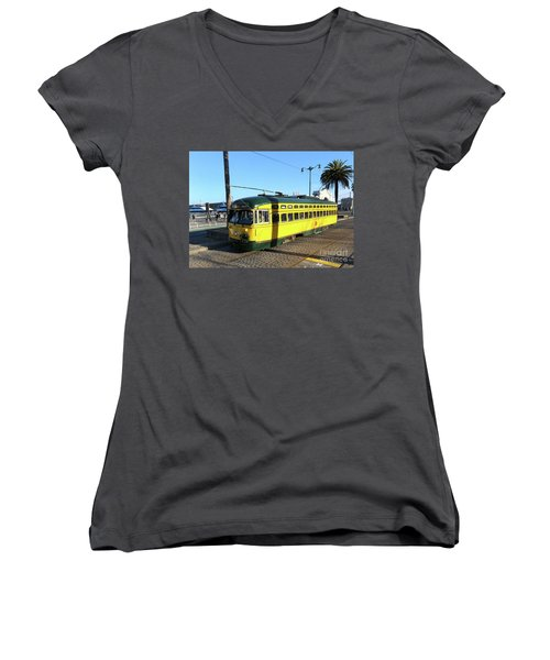Women's V-Neck T-Shirt (Junior Cut) featuring the photograph Trolley Number 1071 by Steven Spak