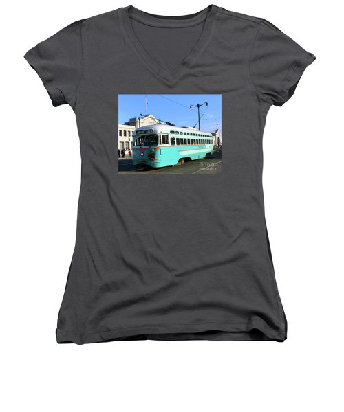 Women's V-Neck T-Shirt (Junior Cut) featuring the photograph Trolley Number 1076 by Steven Spak